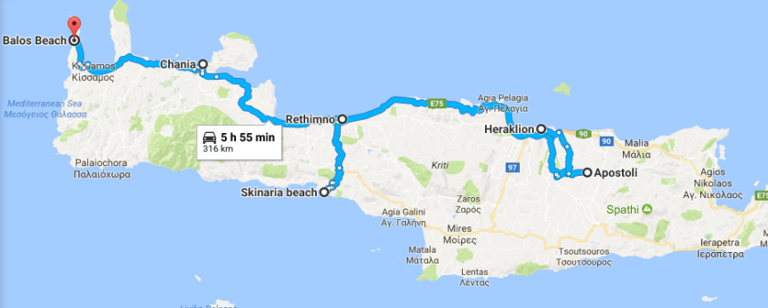 Route Around Crete